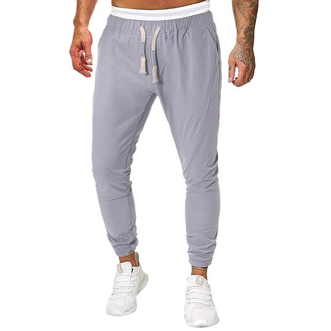 DUJIE Pantalon Yoga Hombre Color Sólido Pantalones ...