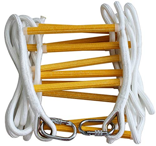 Story 16 Foot – Solid Flame Resistant Fire Safety Rope Ladder With Carabins – Fast To Deploy & Easy To Use - Compact & Easy to Store -Reusable - Weight Capacity up to 2500 Pounds ()