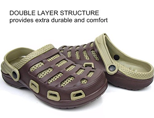 Men Garden For Boat Two Khaki Slippers Mules On Sandals Tone Double Shoes Sport Clogs Slip Massage Layer Brown StqxHEp
