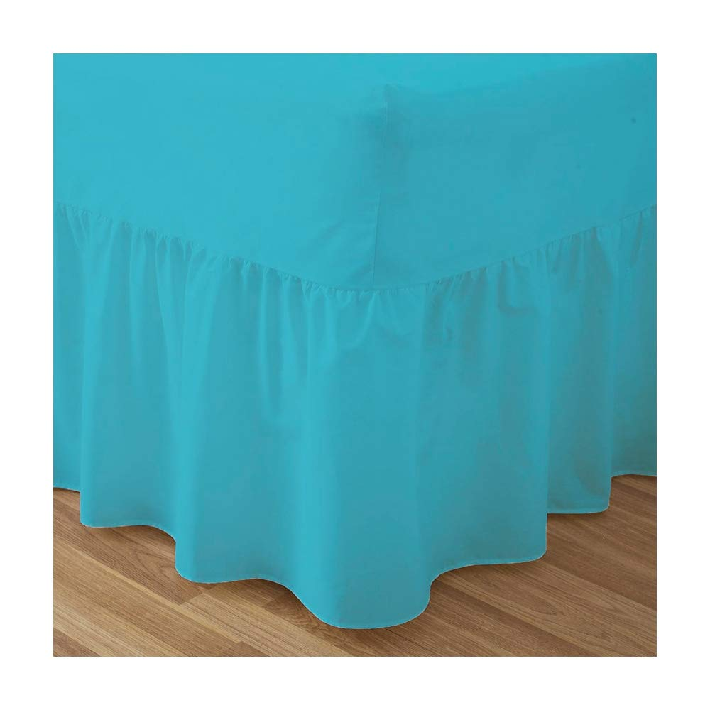 Fitted Valance Sheets Double Size Bed Sheets Dyed 9.5 '' deep Plain Poly Cotton Bedding 11'' Frilly Drop , Black De Lavish