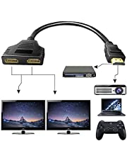 Hdmi Splitter 1 in 2 Out 1080P, Dual HDMI Splitter Adapter Cable for Xbox PS4 Blu-Ray Player HDTV, Support Two TVs at The Same Time with High Speed HDMI Cable