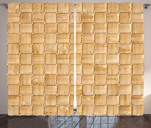 Ambesonne Beige Decor Collection, Illustration of Thic Woven Oak Wood Patterns Natural Simple Harvest Style Contemporary Deco, Living Room Bedroom Curtain 2 Panels Set, 108 X 84 Inches, Brown