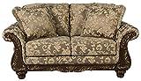 Ashley Furniture Signature Design – Irwindale Loveseat – Traditional Elegant Sofa – Topaz with Goldtone Leaf Finish
