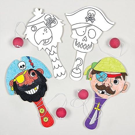 Baker Ross Paletas De Madera De Piratas Para Colorear Que Los Niños