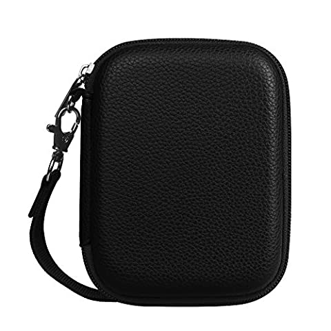 Fintie PU Leather Coated Hard EVA Shockproof Carring Case for Seagate Backup Plus Slim, WD My Passport, Toshiba Canvio Basics, Canvio Connect, Samsung T3 SSD 2.5 inch External Hard Drive, Black