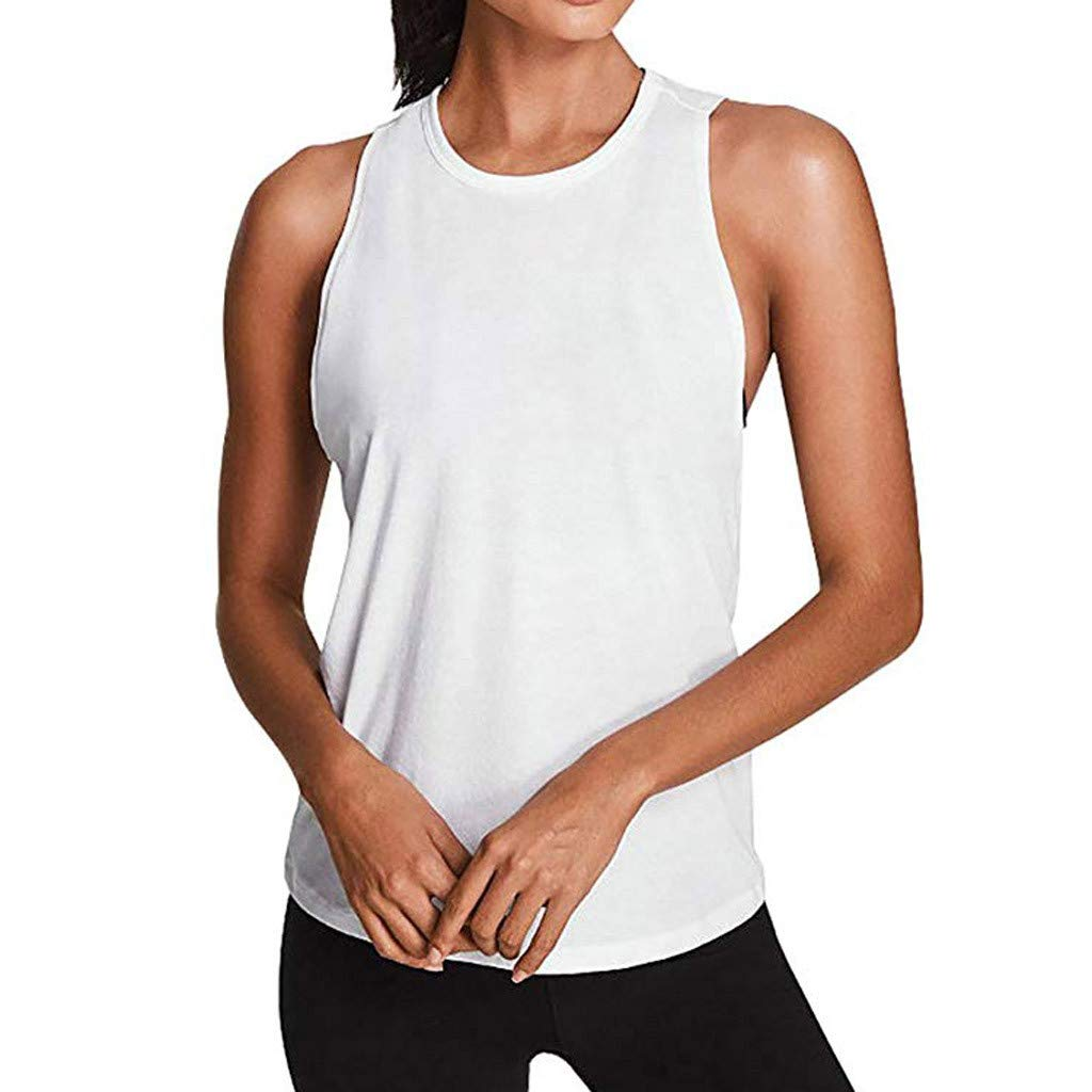 39ef866e1852bd Amazon.com   lotus.flower Women Activewear Sexy Open Back Yoga Shirt  Workout Sports Gym Tank Tops Vest (S