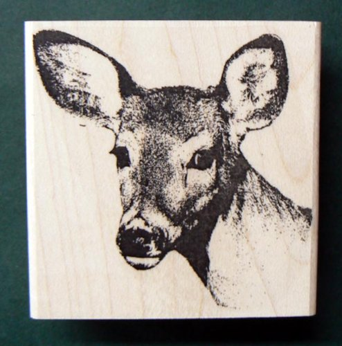 Young deer rubber stamp WM 2.25x2.25