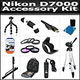 Accessory Kit For The Nikon D7000 Includes SD Memory Card Reader + Deluxe BackPack Case + 50 Inch Pro Tripod + 67 Inch Monopod + Gripster + Remote Shutter + Lens Hood + 3pc High Res. Filter Kit + 4pc Close Up Filter Set + HDMI To Mini HDMI Cable + More