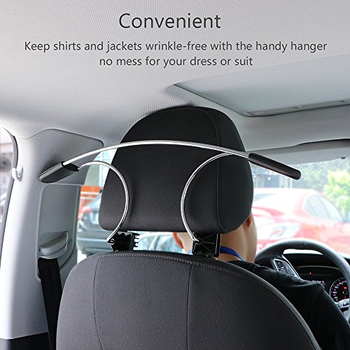 AOZBZ Universal Stainless Steel Car Auto Seat Headrest Hanger for Clothes Coat Jackets Suits, Black, 1 pc (Car Clothes Hanger)