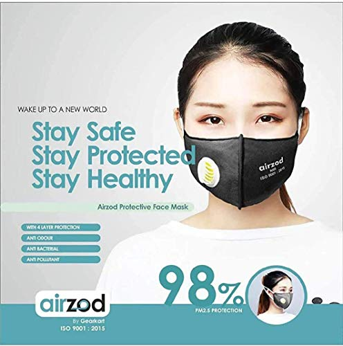 Airzod N95 MEDICATED Reusable Anti Pollution Air Masks with in-built Filter Respirator for Men and Women (Black and Grey) (B089DPM135) Amazon Price History, Amazon Price Tracker