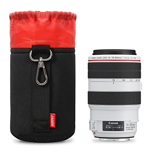 Lens Case Medium Size Lens Pouch Bag with Thick Protective Neoprene Soft Plush for DSLR Camera Lens For Canon Nikon Sony Pentax Olympus Panasonic -