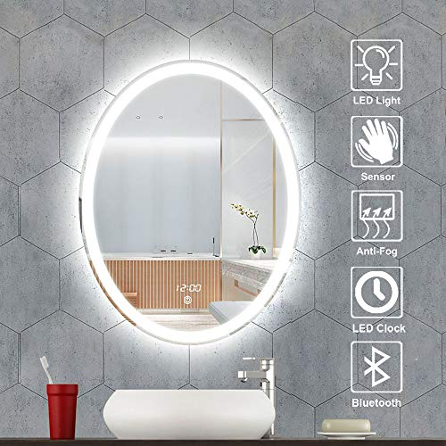 Smart Bluetooth Bathroom Vanity Mirror, 700×900mm Stepless Dimming Time Temperature Display Defogging -