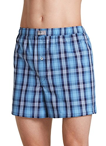 Button Fly Woven Boxers - Jockey Men's Underwear Woven Boxer, SkyBlue Plaid, L