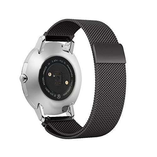 Shangpule Replacement Bands for Withings Nokia Steel HR Tracker, Stainless Steel Metal Bracelet Strap for Withings Nokia Steel HR 40mm/36mm (Milanese Black, 36mm)