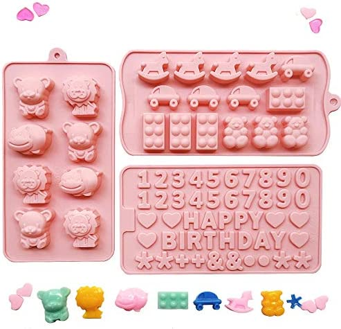 MOMOCAT Set of three Candy Molds ,Chocolate ,Soap moldsHappy Birthday and Digital Silicone Molds Non-stick Food Grade Silicone Molds (Pink) for Chocolate,Candy, Jelly, Ice cubes