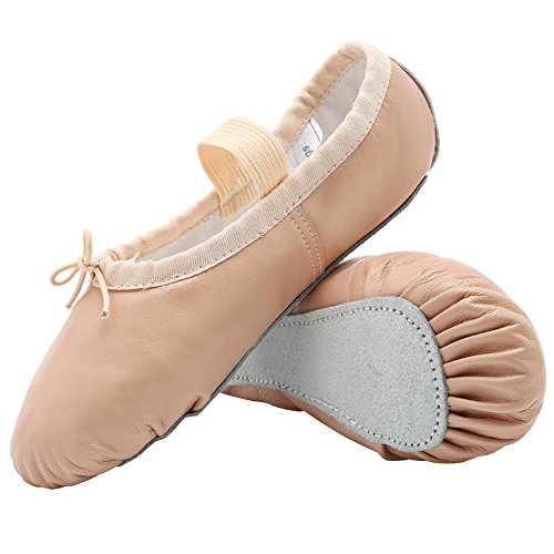 DANCEYOU Adjustable Split Sole Ballet Flat Dance Slippers for Toddler//Little Kid//Big Kid//Women