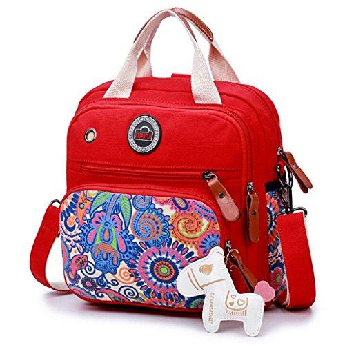 ZHANG Z&YF mochila Bolsos de mamá Alta capacidad bolso Bolsas de hombro Bolso de señoras Bolsa de viaje rojo negro, red red