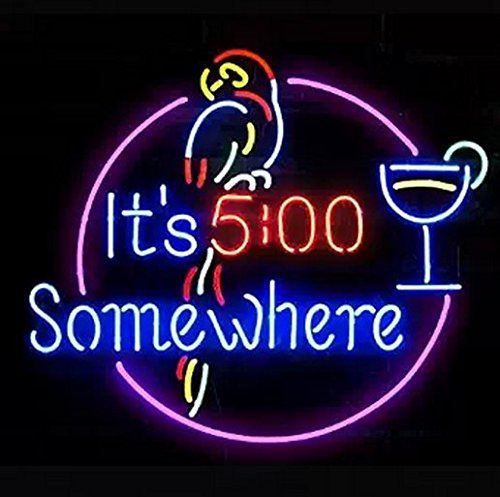 It's 5:00 Somewhere Parrot Beer Bar Pub Store Party Room Wall Display Neon Signs 19x15