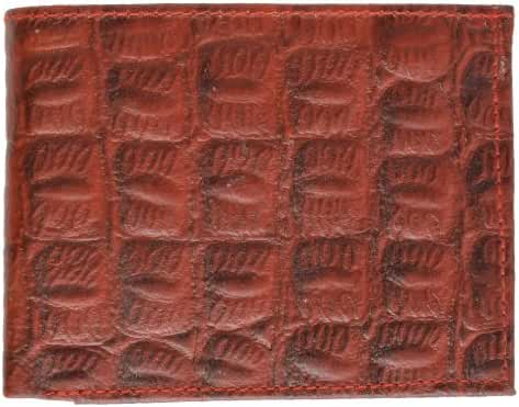 Crocodile Print Cowhide Leather Bifold Wallet with Center Id window & Credit card Slots by Marshal