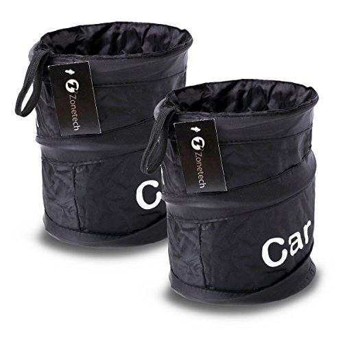 Zone Tech 2-Pack Universal Traveling Portable Car Trash Can - Black Collapsible Pop-up Leak Proof Trash (Trash Can Carrier)