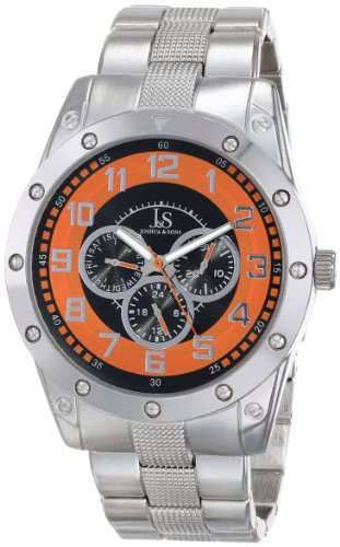 Joshua & Sons Men's JS47OR Silver Multifunction Quartz Watch with Orange Dial and Silver Bracelet