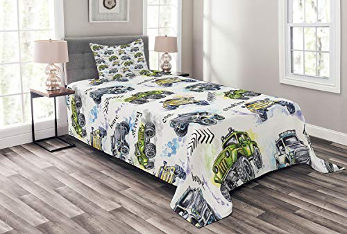 (Ambesonne Cars Bedspread Set Twin Size, Hand Drawn Watercolored Monster Trucks Enormous Wheels Off Road Lifestyle, 2 Piece Decorative Quilted Coverlet with 1 Pillow Sham, Yellow Lavender Blue)