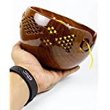 Nagina International Premium Rosewood Crafted Yarn Storage Bowls with Decorative Carved Handmade Grills - Knitting & Crochet Accessories Supplies (Large)