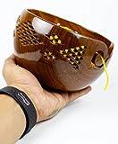Nagina International Premium Rosewood Crafted Yarn Storage Bowls Decorative Carved Handmade Grills - Knitting & Crochet Accessories Supplies (Large)