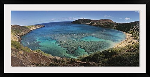 GreatBIGCanvas ''High Angle View of A Beach, Hanauma Bay, Oahu, Hawaii'' Photographic Print with black Frame, 48'' x 21'' by greatBIGcanvas