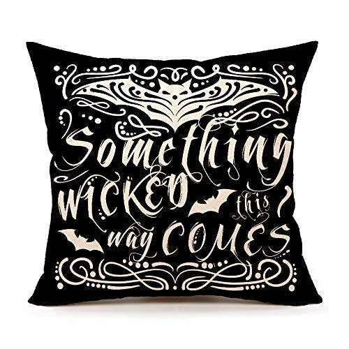 4TH Emotion Something Wicked Chalkboard Halloween Throw Pillow Cover Pillow Case 18 x 18 Inch Cotton Linen for Sofa(Bat) -