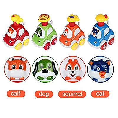 Baby Toy Cars - Kids Cute Animal Push and Go Cars, Early Education and Development Toy for Children - Includes 4 Cars in 4 Assorted Styles: Toys & Games