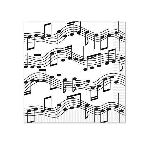 Beistle Musical Notes Beverage Napkins, White/Black (3-Pack) ()