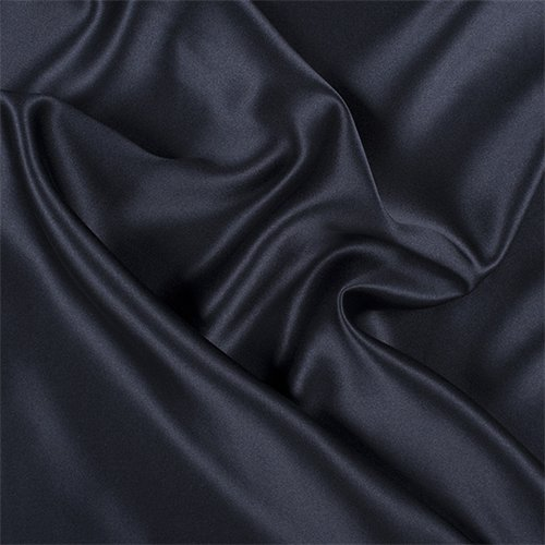 Midnight Navy Silk Crepe Back Satin, Fabric By the Yard