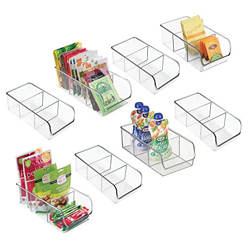 mDesign Plastic Food Packet Kitchen Storage Organizer Bin Caddy - Holds Spice Pouches, Dressing Mixes, Hot Chocolate, Tea, Sugar Packets in Pantry, Cabinets or Countertop - 8 Pack - Clear ()