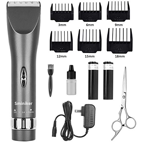 Sminiker Professional Cordless Haircut Kit Clippers for Men Rechargeable Hair Clippers Set with 2 Batteries, 6 Comb, Guides and Scissors – Grey