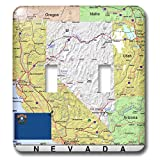 3dRose Lens Art by Florene - Topo Maps, Flags of States - Image of Nevada Topographic Map With State Flag - Light Switch Covers - double toggle switch (lsp_291416_2)