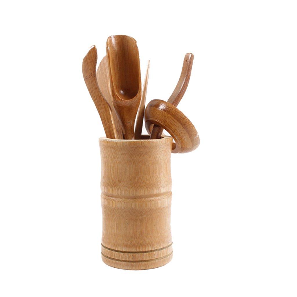 Baoblaze 6 Pieces Bamboo Tea Utensils Chinese Gong Fu Tea Ceremony Cha Dao Tools Set