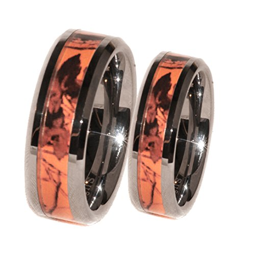 Orange Camouflage His & Her Ring Band Set (His 8.5 Hers 6.5) (Real Tree Wedding Ring Set)