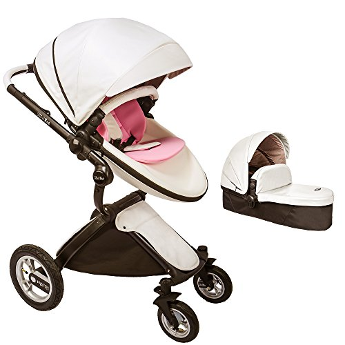 KID1st Elegant All-in-1 high Landscape All-Terrain Egg Shell Infant Baby Stroller Travel System Toddler Pushchair Baby pram with Carriage Bassinet Combo for HOT MOM (a-Stroller-White-02)