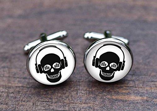Skull DJ Cufflinks, Halloween Gifts Silver plated DJ Cufflinks men Accessories symbol headphone music]()