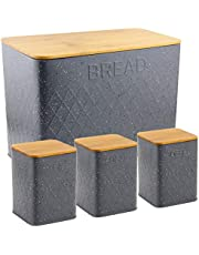 HausRoland Bread Box for Kitchen Counter Stainless Steel Bread Bin Storage Container For Loaves Pastries Dry Food (Grey, GS-03052-A405)