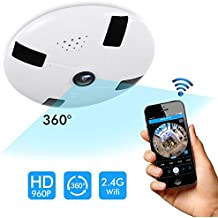 Home Security Camera 360 Degree Panoramic IP Camera 960P Wireless 3D VR Ceiling Surveillance Monitor with IR Night Vision and Motion Detection For Iphone Android APP Remote Control