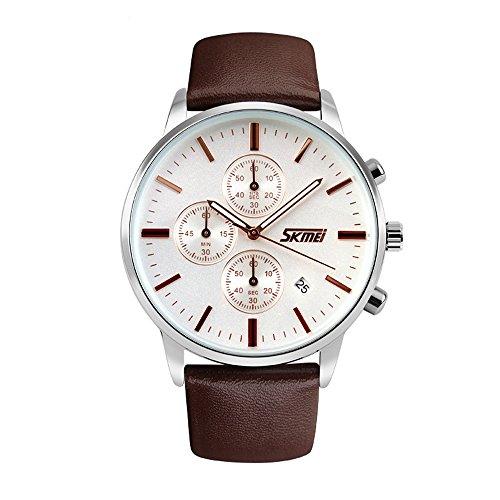 [J.Market Wrist Watch Men Chronograph Stopwatch Quartz Watch on Sale Birthday Gift with Genuine Leather Band (Coffee)] (Leather Genuine Chronograph)