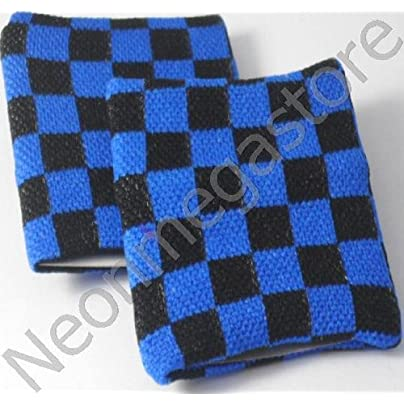 Neon Megastore PAIR BLACK BLUE CHEQUERED WRIST SWEATBAND WRISTBAND Estimated Price £4.99 -