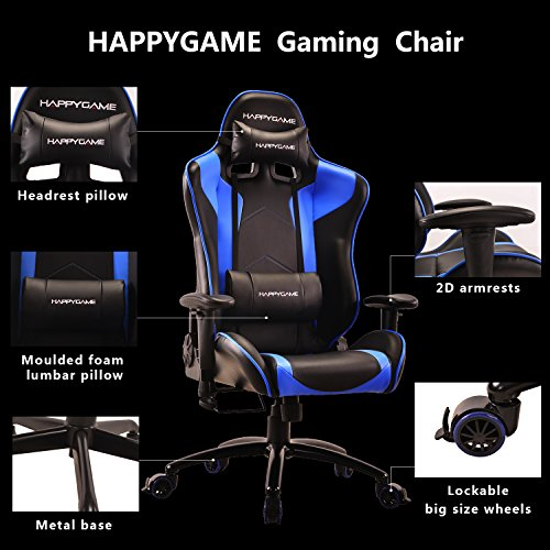 51I8PMpHOpL - HappyGame-PC-Gaming-Chair-and-Racing-Sport-Chair-with-Pillow-Leather-Swivel-Executive-Office-Chair-Highback-Racing-Style-Desk-Leather-Office-ChairBlue-OS7502