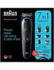 Braun MGK 3245 All-in-one Trimmer 7-in-1 Beard Trimmer, Hair Clipper, Detail Trimmer, Rechargeable, with Gillette ProGlide Razor, Black/Blue