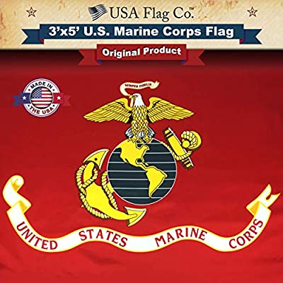 USA Flag Co. Marine Corps Flag is 100% American Made: The Best 3x5 Outdoor USMC Flag, Made in The USA for Prime Members and Amazon A to Z Guarantee. (3 by 5 Foot)