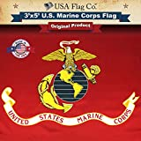 USA Flag Co. Marine Corps Flag is 100% American Made: The Best 3×5 Outdoor USMC Flag, Made in The USA for Prime Members and Amazon A to Z Guarantee. (3 by 5 Foot)