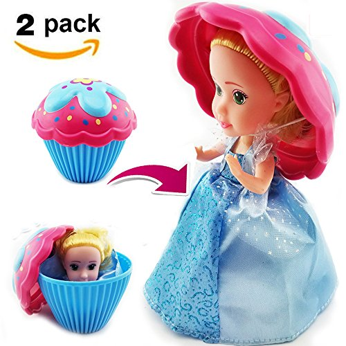 Cupcake Surprise Scented Doll Toys,Reversible Cake Transform To Mini Princess Doll 2 Pack By Erica