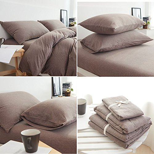 DOUH Jersey Knit Cotton 3 Pieces Duvet Cover Set Queen Size Ultra Soft Solid Duvet Cover and Pillow Shams Comfy Coffee Bedding Set for Kids Adults by DOUH (Image #3)